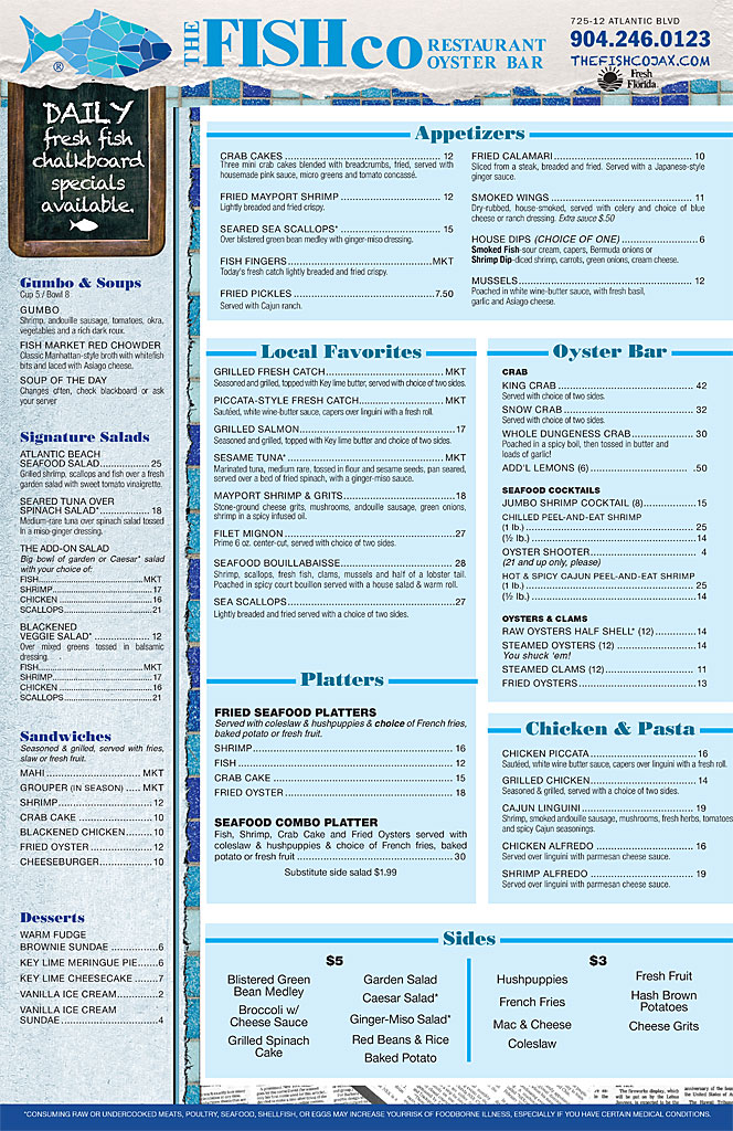 Fish Company Dinner Menu