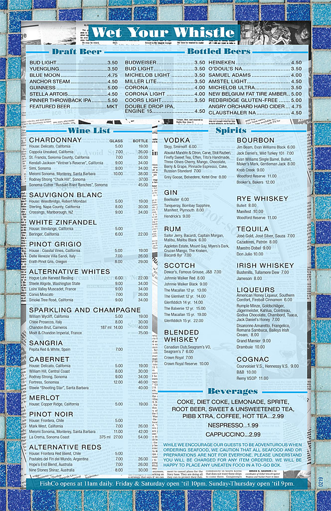 Fish Company Lunch Menu